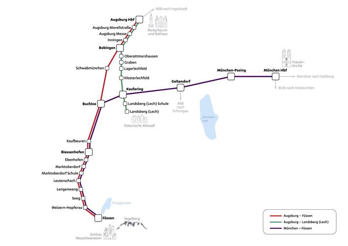 Netzplan Dieselnetz Augsburg 1 BRB