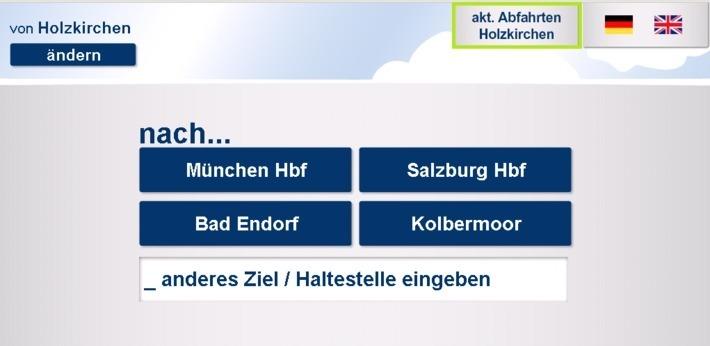 Fahrkartenautomaten mit Fahrplanauskunft - Startbildschirm