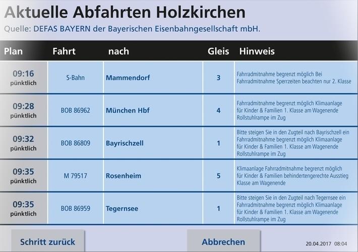 Fahrkartenautomaten mit Fahrplanauskunft - Anzeige der nächsten Verbindungen