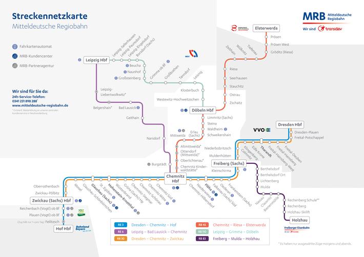 Streckennetzplan der Mitteldeutschen Regionalbahn