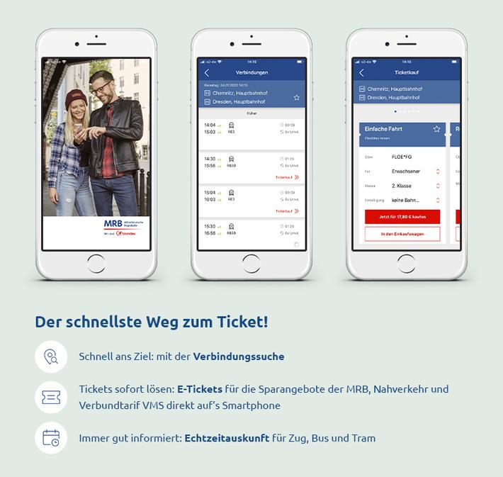 Drei Smartphone-Bildschirme zeigen Funktionen der MRB-App