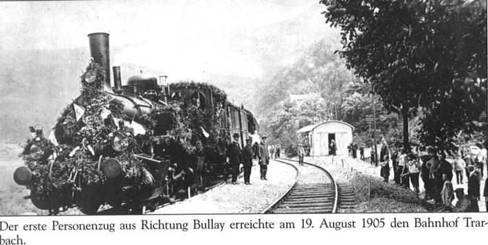 Der 1. Personenzug in Trarbach am 19.8.1905