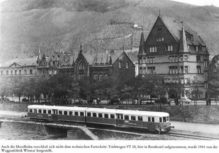 Der Triebwagen VT 10 in Bernkastel (1941)