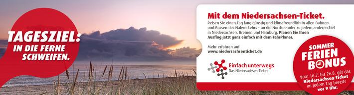 Sommer Ferien Bonus: Vom 16.07. bis 26.08. gilt das Niedersachsen-Ticket an jedem Tag bereits vor 9 Uhr.