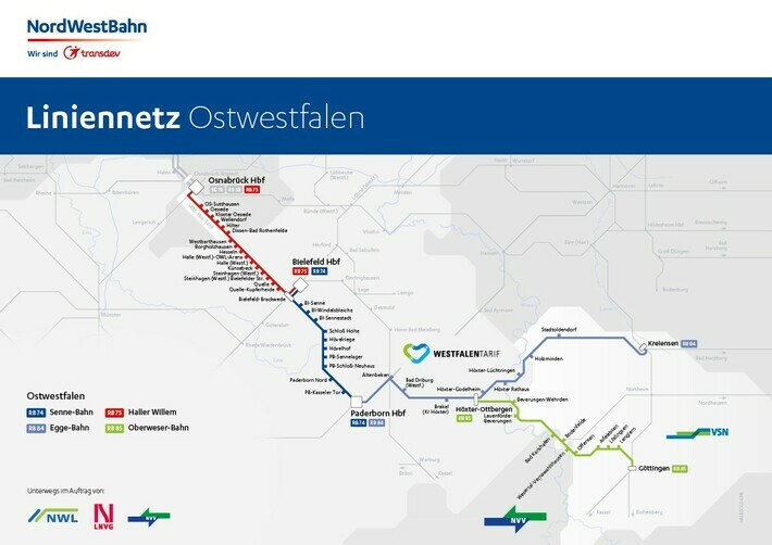 Liniennetz Ostwestfalen