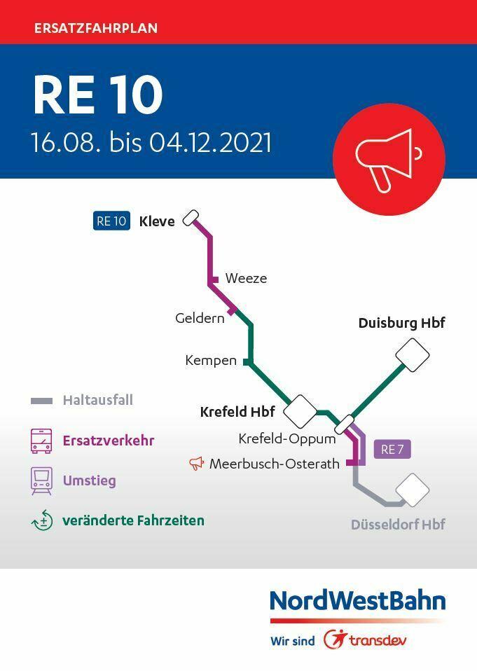 """Ersatzfahrplan der NordWestBahn für den RE 10 """"Niers-Express"""" vom 16. August bis 4. Dezember 2021"""