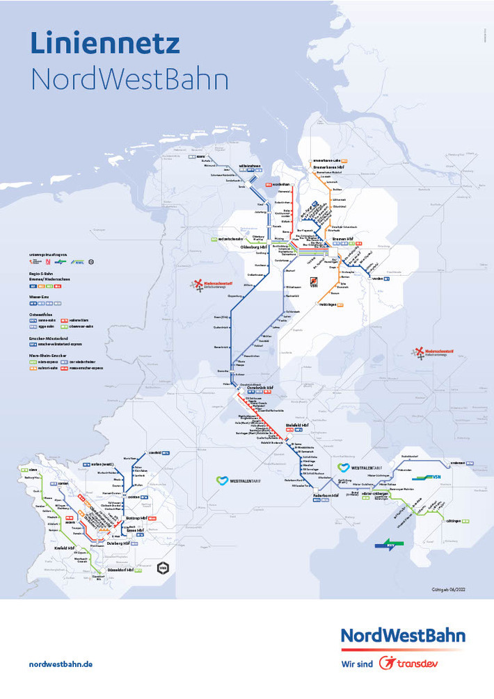 Gesamtliniennetz der NordWestBahn gültig ab 12/2019