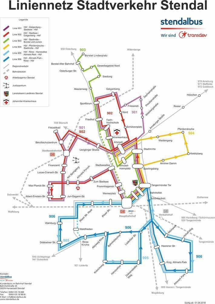 Liniennetz Stadtverkehr Stendal
