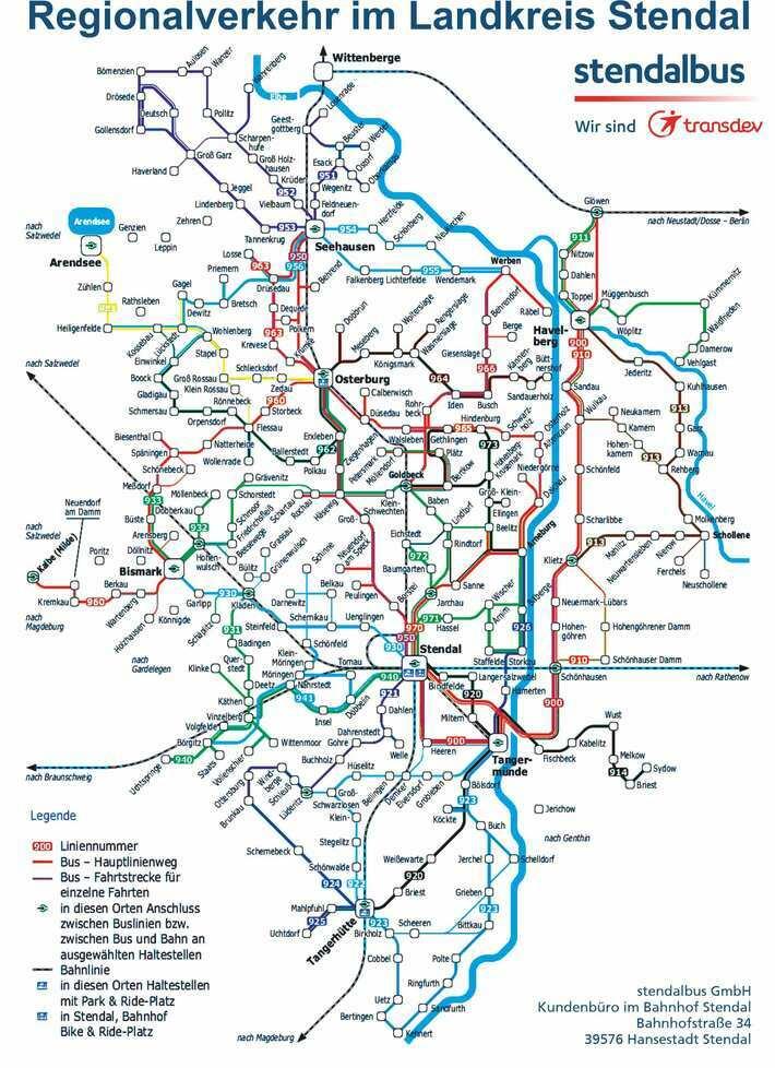 Liniennetz Regionalverkehr Landkreis Stendal