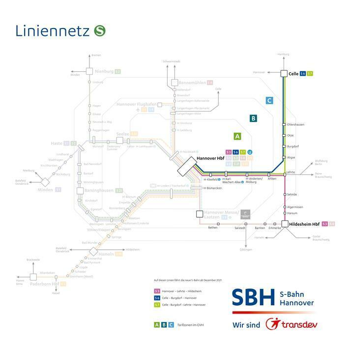Das Liniennetz der S-Bahn Hannover 2022