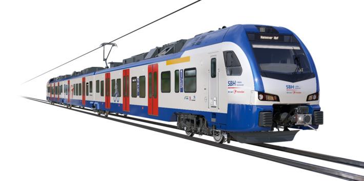 Mit modernen Fahrzeugen des Typs Stadler Flirt wird die Transdev Hannover GmbH in der Region Hannover ihre Fahrgäste sicher und komfortabel ans Ziel bringen. Grafik: Stadler