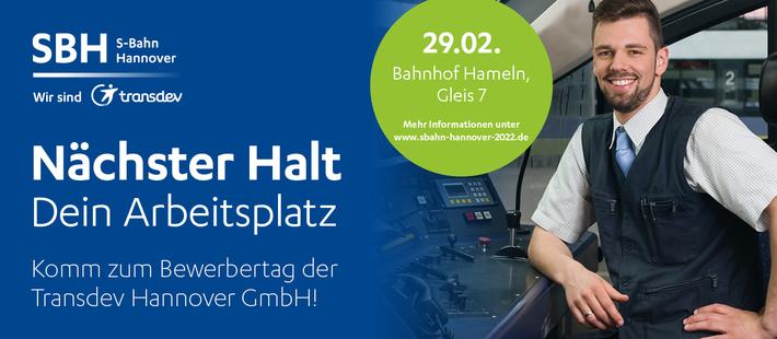 Wir suchen Quereinsteiger (w/m/d) für den Betrieb der neuen S-Bahn Hannover ab 2022.