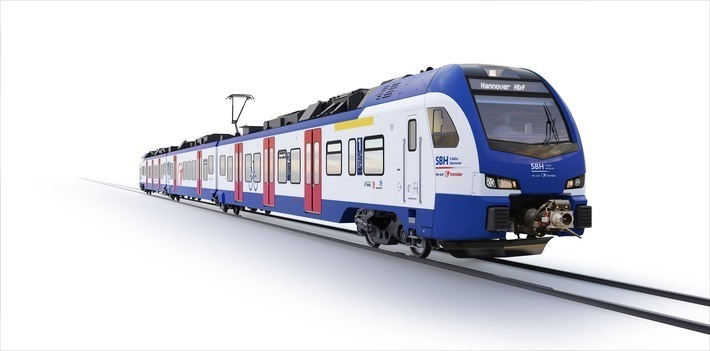 Transdev Hannover GmbH will use modern Stadler Flirt vehicles to bring its passengers in the Hannover region safely and comfortably to their destination. Graphic: Stadler