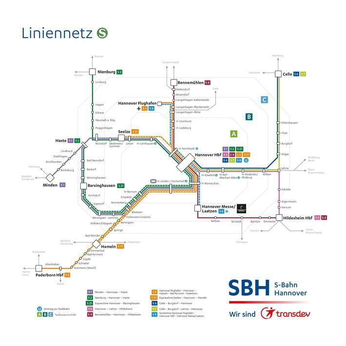 The S-Bahn Hannover line network 2022