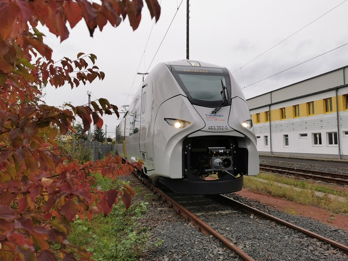 Einer von zwei neuen Siemens Mireo Elektrotriebwagen der Trans Regio