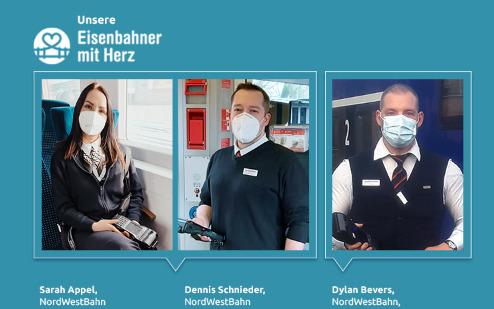 Eisenbahner mit Herz 2021: Ein Bild mit den Gesichtern der drei Nominierten der Transdev GmbH