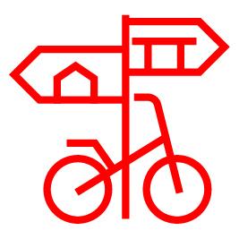 Fahrrad steht an Wegweiser