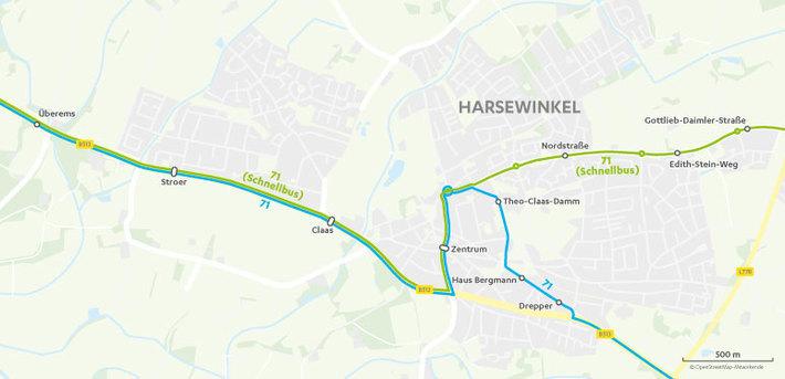 Verlauf Linie 71 in Harsewinkel
