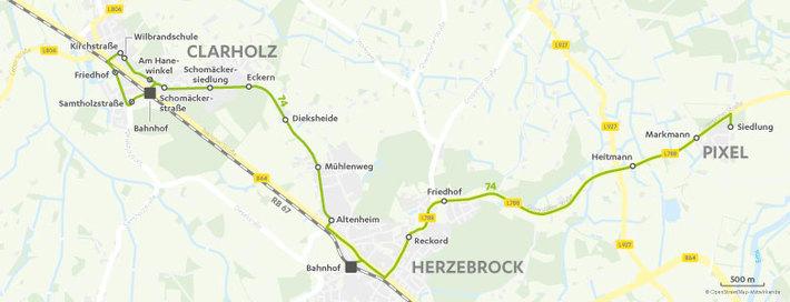 Verlauf Linie 74
