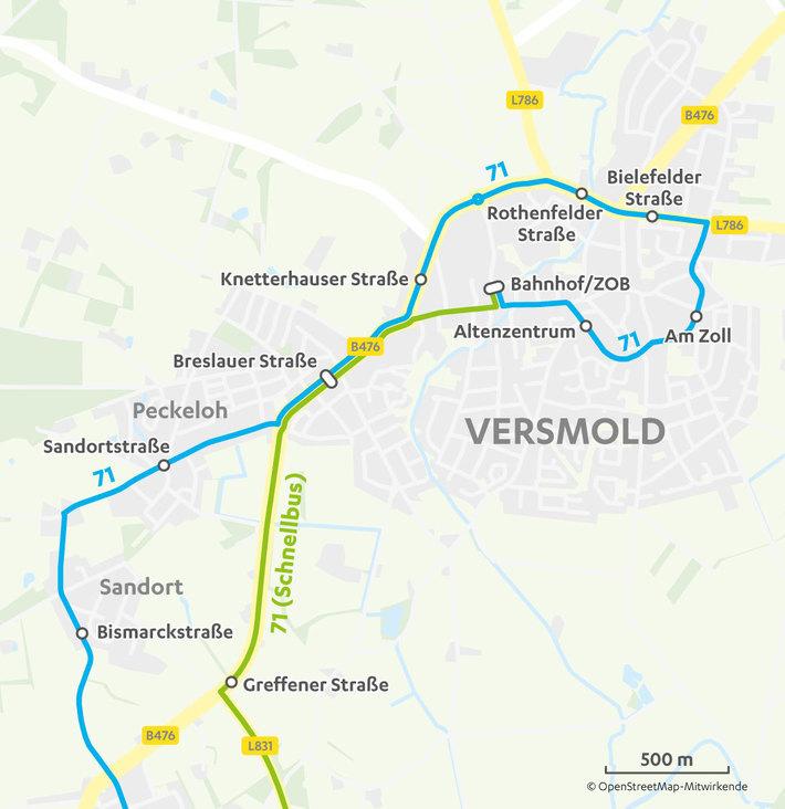 Verlauf Linie 71 in Versmold