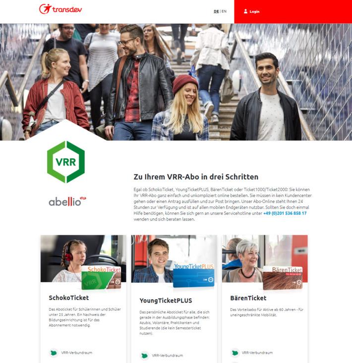 vrr-abo.de Screen der Startseite