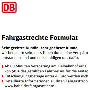DB Fahrgastrechteformular