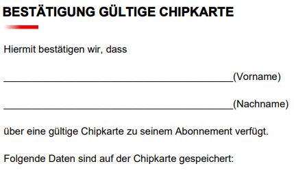 Bestätigung Chipkarte