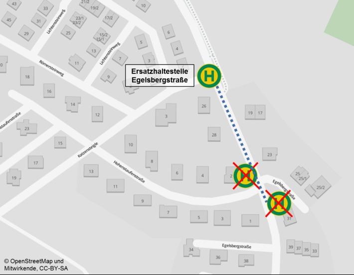 Lage Ersatzhaltestelle Egelsbergstraße